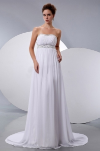 Chiffon Maternity Wedding Dress Beading Court Train Empire