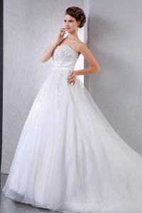 Pretty Court Train Ball Gown Wedding Dress Appliques