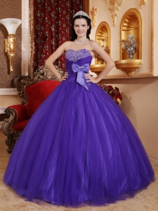 Purple Sweetheart Bow Beading Tulle and Tafftea Quinceanera Gowns