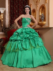 0Pretty Strapless Taffeta Appliques Princesita Quinceanera Dress
