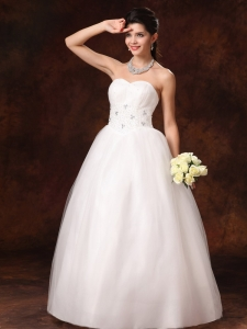 Beaded New Arrival A-Line Church Wedding Dress With Lace Up