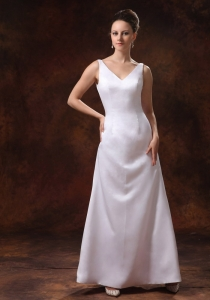 V-neck Ankle-length Satin Mother of the Bride Dress Custom Made