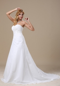 Wedding Dress Ruched Bodice Appliques Chiffon Chapel Train