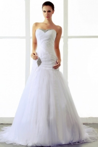 Wedding Dress Beading Ruching Sweetheart Brush A-line