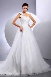 A-line Wedding Dress One Shoulder Floral Court Train