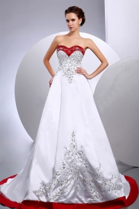 New Wedding Dress Embroidery Beading Sweetheart A-line