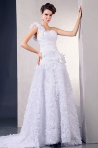 Wedding Dress One Shoulder Hand Made Flowers Court Train