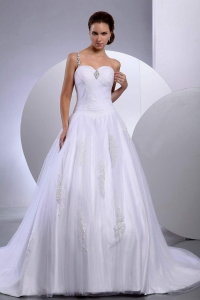 A-Line Princess Tulle Appliques Chapel Train Wedding Dress