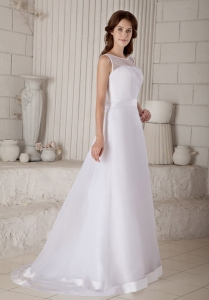 Afforable Column Sheath Scoop Train Bow Wedding Dress