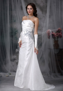 A-line Strapless Taffeta Appliques Ruch Wedding Dress