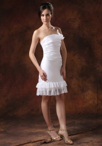 Taffeta Knee-length Column Sheath Lace Wedding Dress