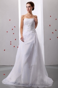 Appliques A-Line Princess Organza Strapless Wedding Dress