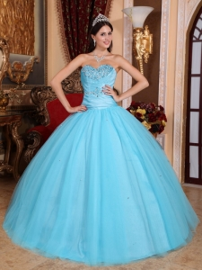 Baby Blue Sweetheart Tulle Beading Quinceanera Dress