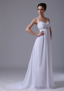 Beaded Decorate Empire Straps Wedding Dress Chiffon