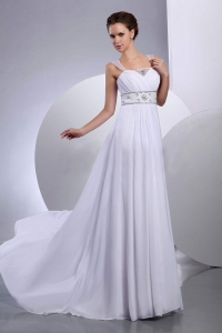 Beading A-Line Princess Court Train Chiffon Wedding Dress