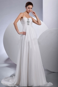 Beading Brush Sweep Train Chiffon Wedding Dress Empire
