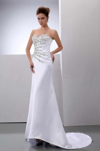 Beading Brush Sweep Train Satin Column Wedding Dress