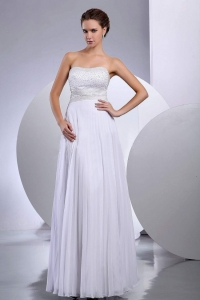 Beading Empire Wedding Dress Chiffon Floor-length Strapless