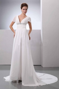 Beading V-Neck Court Train Chiffon Wedding Dress Empire