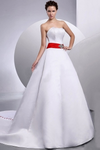 Belt Strapless Wedding Dress Court Train A-Line Satin