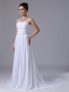 Chiffon Beaded Waist Empire Sweetheart Wedding Dress