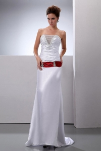Woven Satin Ruched Brush Sweep Train Wedding Dress