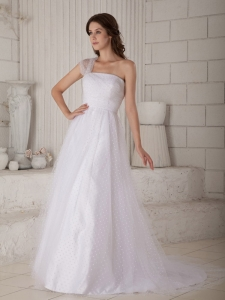 A-line Princess One Shoulder Court Train Wedding Dress