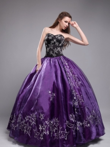 Eggplant Purple Quinceanera Dress Sweetheart Organza