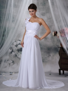 Column Sheath One Shoulder Court Ruched Wedding Dress