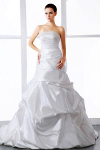 Elegant Wedding Dress Beading Ruching Court Train