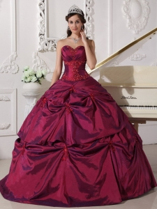Quinceanera Dress Sweetheart Taffeta Appliques Floorlength