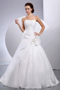 Taffeta Strapless Court Train A-Line Wedding Dress