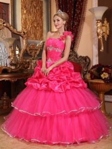 Hot Pink Quinceanera Dress One Shoulder Organza Beading