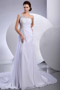 Lace Court One Shoulder Chiffon Wedding Dress Empire