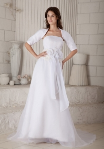 Column Wedding Dress Strapless Court Organza Embroidery