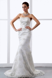 Mermaid Trumpet Embroidery Lace Strapless Wedding Dress