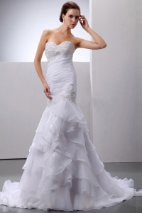 Mermaid Organza Wedding Dress Beading Ruffles Sweetheart