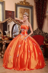 Orange Red Strapless Taffeta Appliques Quinceanera Dress