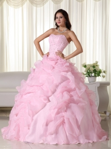 Pink Ball Gown Strapless Organza Beading Quinceanera Dress