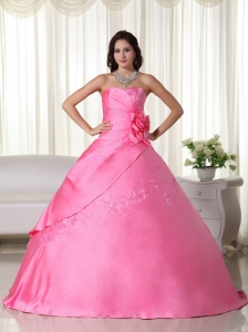 Pink Gown Strapless Taffeta Beading Quinceanera Dress