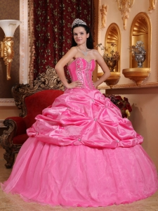 Rose Pink Quinceanera Dress Sweetheart Taffeta Beading