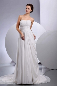 Ruched Wedding Dress Court Train Chiffon Strapless