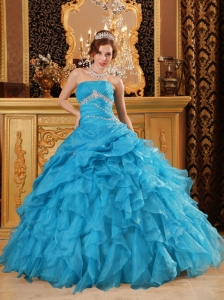 Teal Ball Gown Organza Beading Ruffles Quinceanera Dress