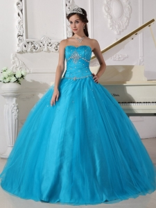 Teal Quinceanera Dress Strapless Tulle Beading Ruch