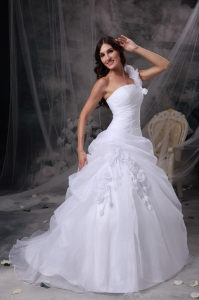 A-line One Shoulder Organza Wedding Dress Floor-length