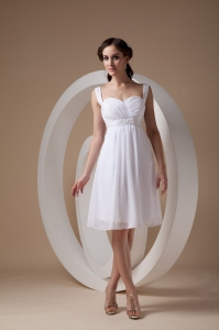 White Column Sheath Straps Chiffon Beading Prom Dress
