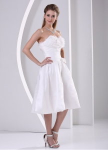 A-line Ruch Ruffles Tea-length Wedding Dress Outdoor