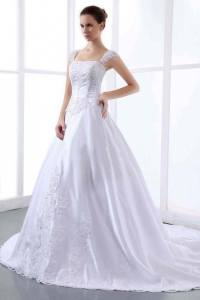 Custom Embroidery Wedding Dress Straps Cathedral Train