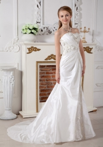 A-line Wedding Dress Sweetheart Court Train Lace Ruch