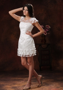 Appliques Wedding Dress Decorate Short White Scoop 2013